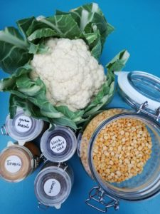 ingredients for vegan golden cauliflower dhal soup