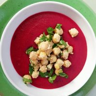 Beetroot soup with tahini chickpeas
