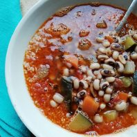 Moroccan inspired cinnamon squash and black bean soup